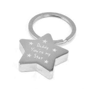 Engraved Text Star Keyring